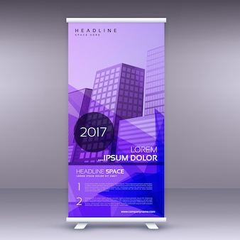 Purple abstract standee roll up modèle de conception de bannière