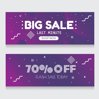 Purple banner background abstract vente flash 70% de rabais