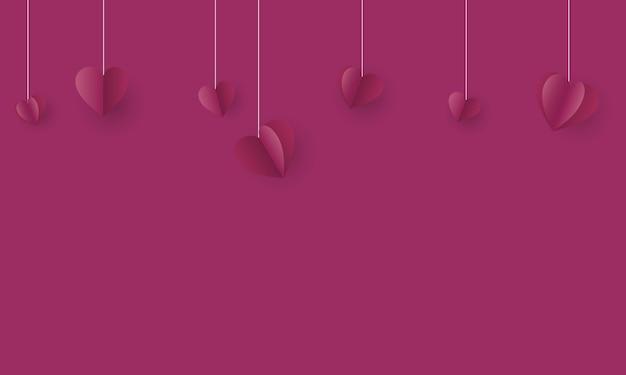 Purple happy valentine day avec fond de papier coeur suspendu vector illustration