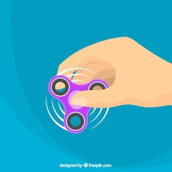 Purple spinner blue background