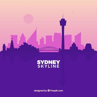 Purple sydney skyline