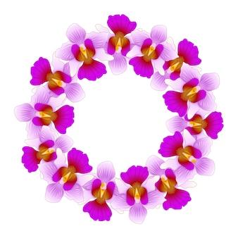 Purple vanda mademoiselle joaquim orchid wreath.