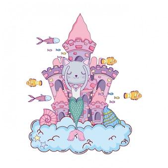 Purrmaid mignon avec château sous-marin