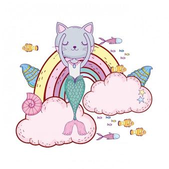 Purrmaid avec nuages et arc-en-ciel sous-marin