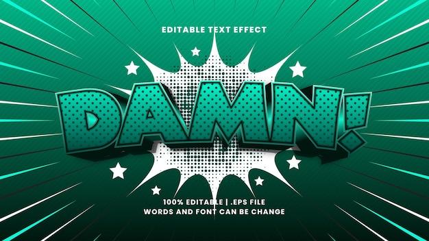 Putain d'effet de texte modifiable comique avec un style de texte de dessin animé