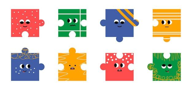 Puzzle abstrait différentes émotions des personnages style de dessin animé vecteur tendance design plat