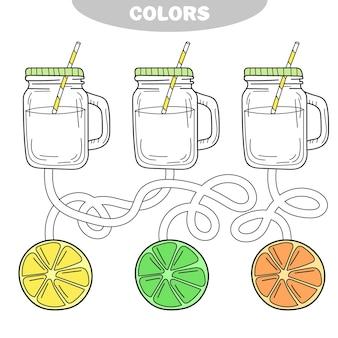 Puzzle et activité de coloriage pour les enfants colorent la limonade
