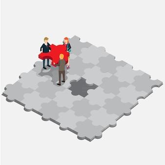 Puzzle d'affaires isométrique