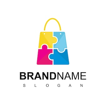 Puzzle bag for kid store logo design vector
