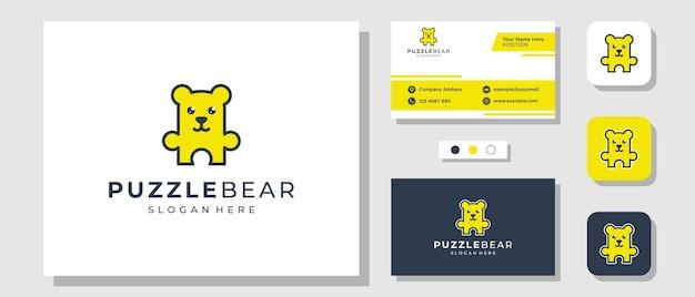 Puzzle bear game creative illustration logo design avec carte de visite modèle de mise en page