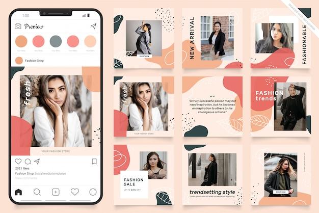 Puzzle cadre carré instagram. bannière de publication sur les médias sociaux