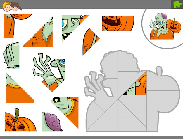 Puzzle éducatif pour enfants avec zombie
