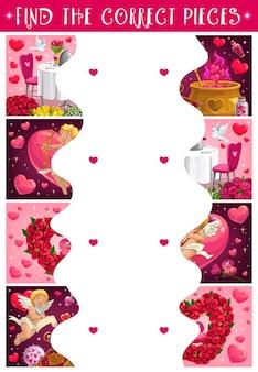 Puzzle enfants saint valentin avec des fleurs et des cupidons