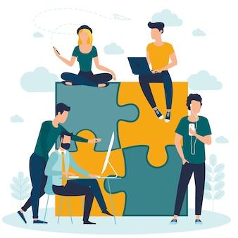 Puzzle, équipe commerciale, travail, concept, workflow, gestion