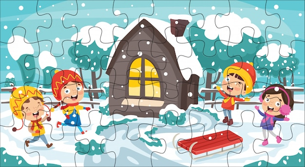 Puzzle game illustration for children