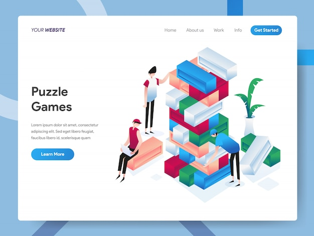 Puzzle games isometric illustration pour la page du site