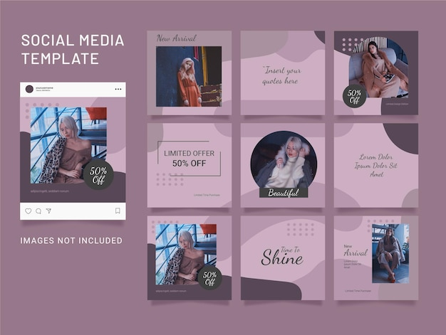 Puzzle instagram feed fashion women template