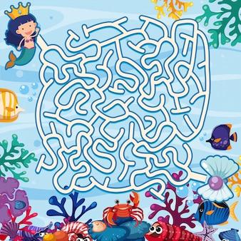 Puzzle jeu de labyrinthe sous-marine