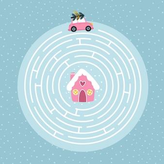 Puzzle de labyrinthe rond éducatif de noël adapté aux jeux, à l'impression de livres, aux applications, à l'éducation. aidez la voiture à rentrer à la maison.