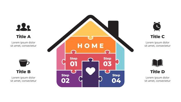 Puzzle maison infographie conception conceptuelle de l'immobilier