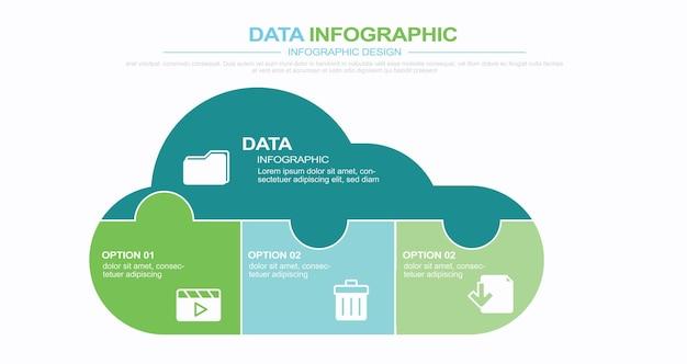 Puzzle de mise en page de conception infographique moderne en forme de nuage illustration stock cloud computing