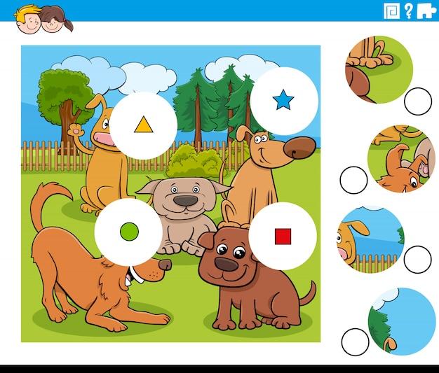 Puzzle de morceaux de match avec des personnages de chiens
