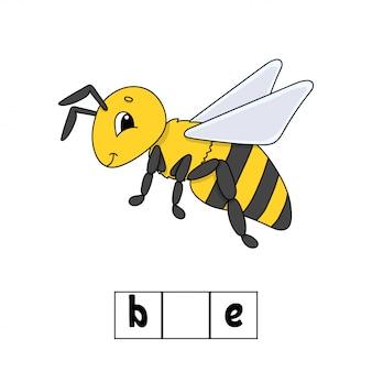 Puzzle de mots, abeille. feuille de travail pour le développement de l'éducation. jeu d'apprentissage pour les enfants.