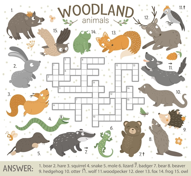 Puzzle de mots croisés avec des animaux de la forêt.