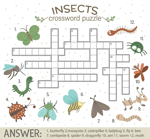 Puzzle de mots croisés avec des insectes forestiers.