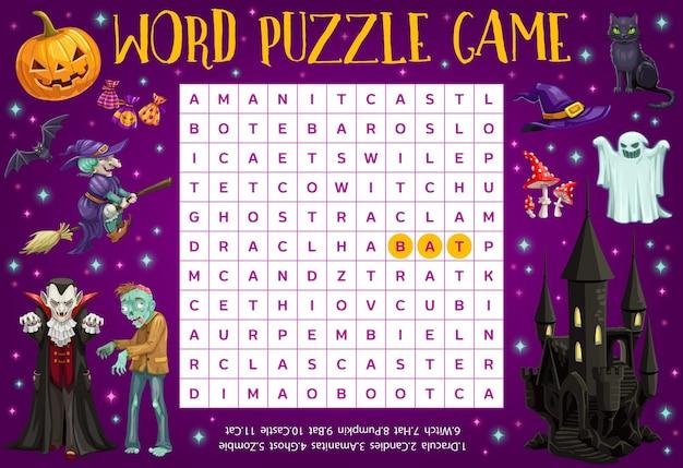 Puzzle de mots d'halloween, feuille de calcul d'énigme de mots croisés