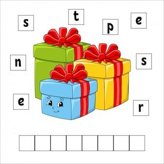 Puzzle de mots. présente. feuille de travail pour le développement de l'éducation. jeu d'apprentissage pour les enfants.