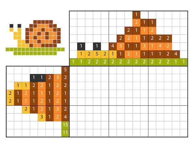 Puzzle de peinture par numéro (nonogram), jeu éducatif pour enfants, escargot