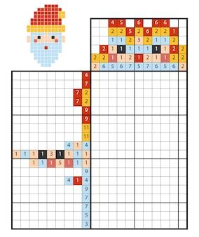 Puzzle de peinture par numéro (nonogram), jeu éducatif pour enfants, père noël