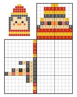 Puzzle de peinture par numéro (nonogram), jeu éducatif pour enfants, pingouin