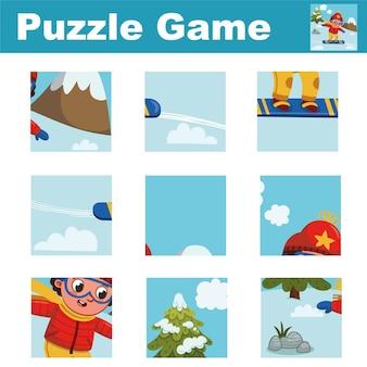 Puzzle pour enfants avec un garçon skieur associez les pièces et complétez le tableau