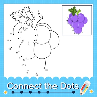Puzzle pour enfants de raisin reliez la feuille de calcul de points pour les enfants comptant les nombres de 1 à 20