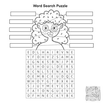Puzzle de recherche de mots sur les parties du corps noir et blanc