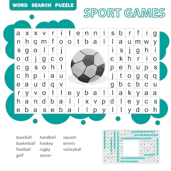 Puzzle de recherche de mots sur le thème des jeux de sport pour les enfants. réponse incluse. jeu éducatif amusant pour les enfants, activité de feuille de calcul préscolaire, illustration vectorielle