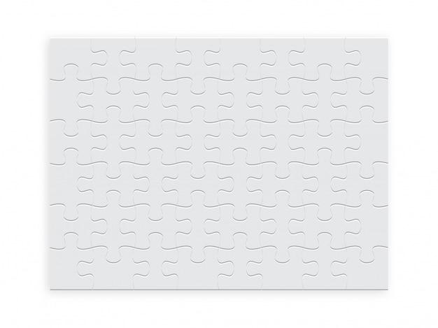 Puzzle rectangulaire de pièces de couleur blanche.