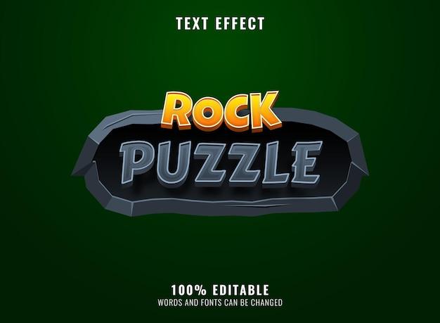 Puzzle de roche 4d avec effet de texte de titre de logo de jeu de cadre en pierre