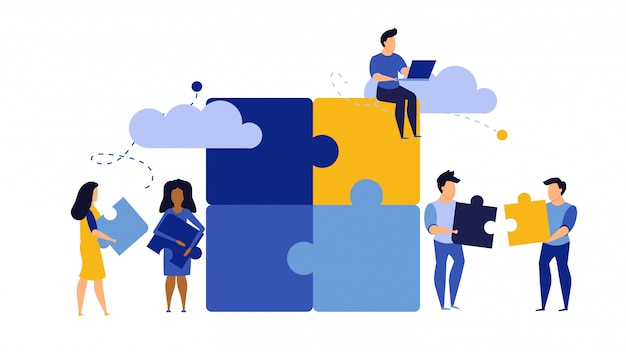 Puzzle, travail d'équipe