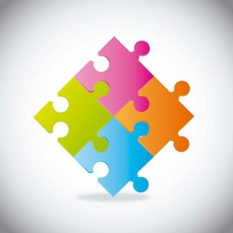 Puzzles colorés avec ombre