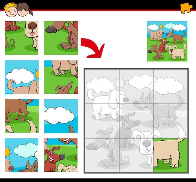 Puzzles avec groupe de personnages de chiens de dessin animé