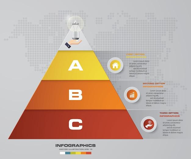Pyramide de 3 étapes avec espace libre pour le texte sur chaque niveau.