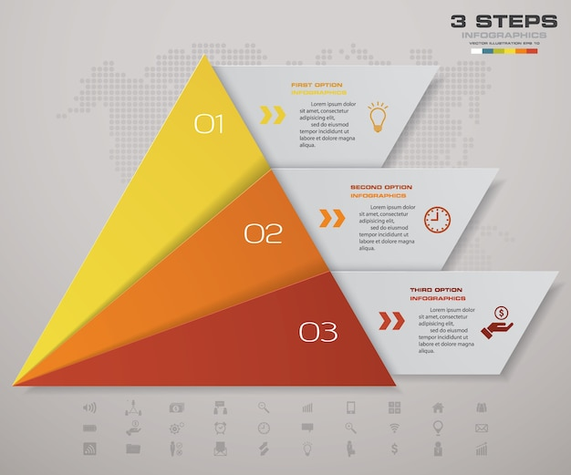 Pyramide en 3 étapes avec espace libre pour le texte à chaque niveau.