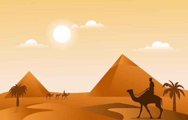 Pyramide désert musulman voyage chameau culture islamique illustration
