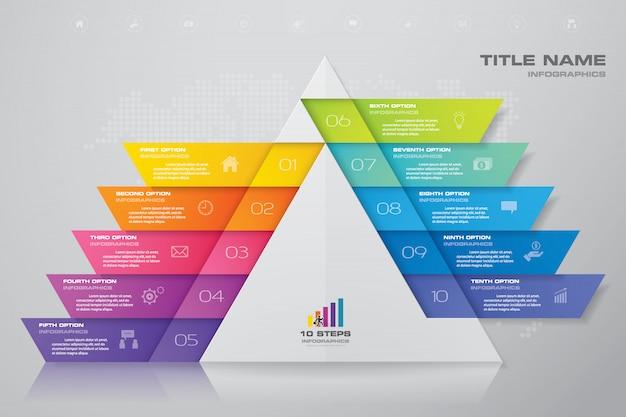 Pyramide à étapes avec espace libre pour le texte à chaque niveau.