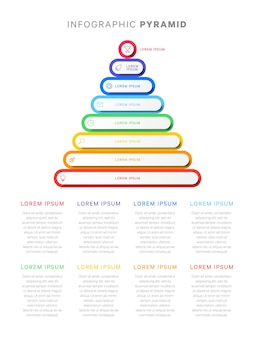 Pyramide infographique colorée avec des éléments 3d à huit niveaux avec des icônes et du texte d'une ligne d'ombres