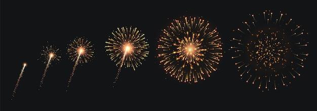 Pyrotechnie et feux d'artifice avec animation sur fond noir