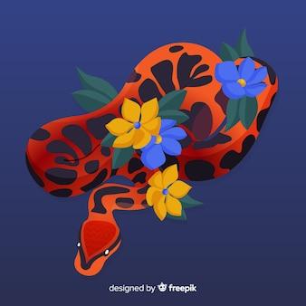 Python dessiné à la main avec fond de fleurs